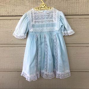 Vintage girls blue lace party 70s style dress -5